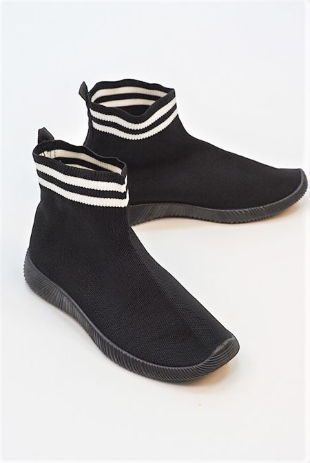 Black With White Chunky Sole High Runner Sock Trainers