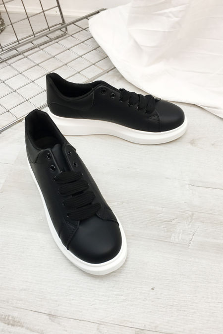 Black With White Chunky Sole Trainers