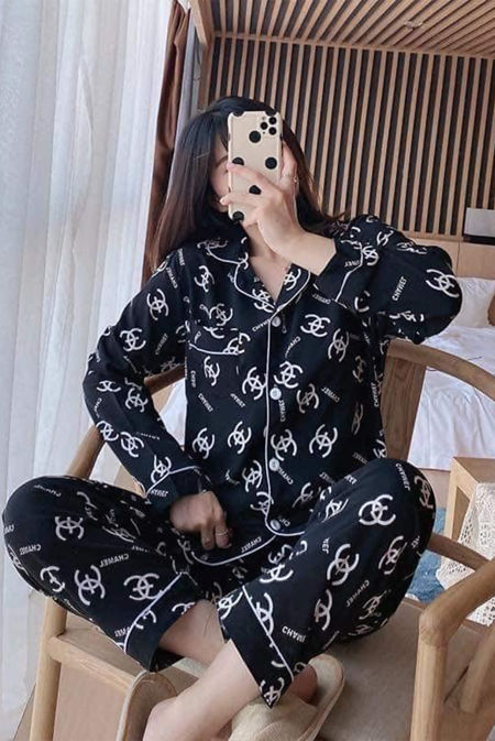 Black With White Logo Long Sleeve Satin PJ Set
