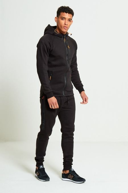 Black Zip Detail Fleece Hooded Skinny Tracksuit