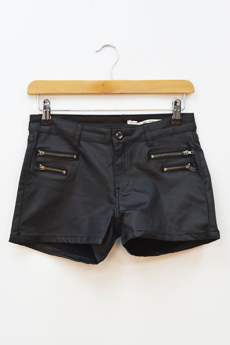 Black Zip Front PU Shorts