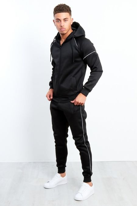 Black Zip Through Hooded Tracksuit Preorder