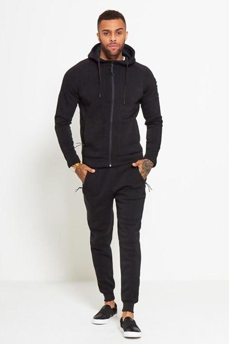 Black Zip Through Skinny Fit Hood Tracksuit Pre-Order