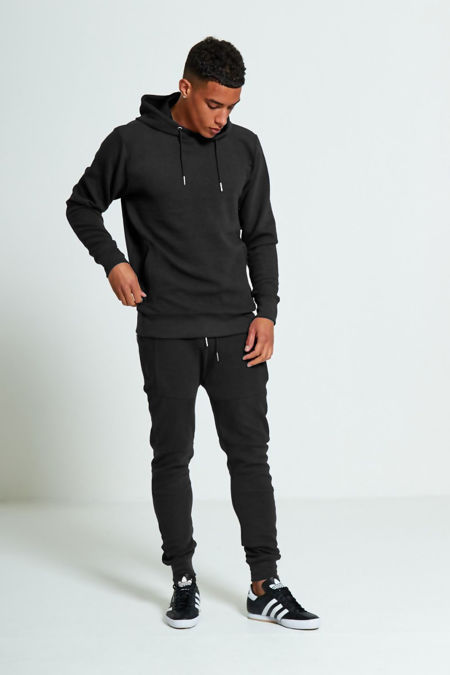 Black Zipped Pockets Ribbed Tracksuit