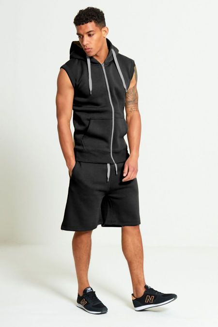 Black Sleeveless Hood Short Set