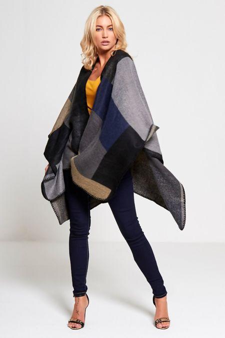 Blanket Stitch Tartan Wool Cape
