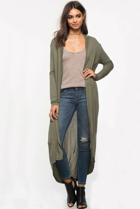 Block Khaki Saima Long Cardigan