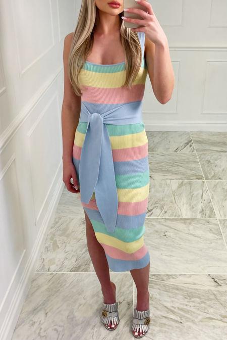 Blue Candy Stripe Ribbed Tie Wait Dress