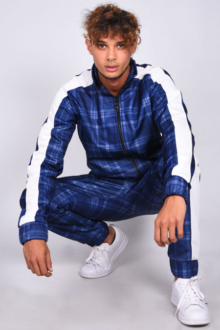 Blue Check Funnel Stripe Skinny Fit Tracksuit