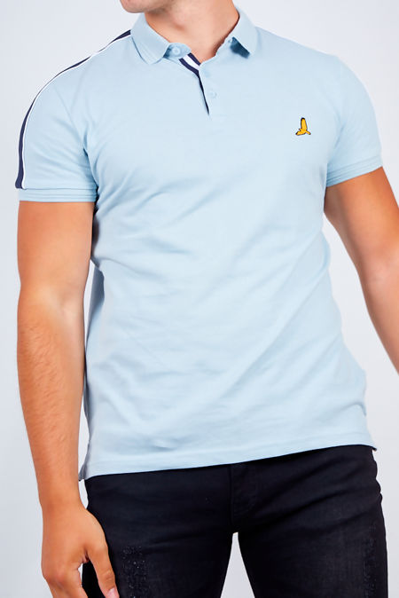 Blue Contrast Stripe Detail Polo Shirt