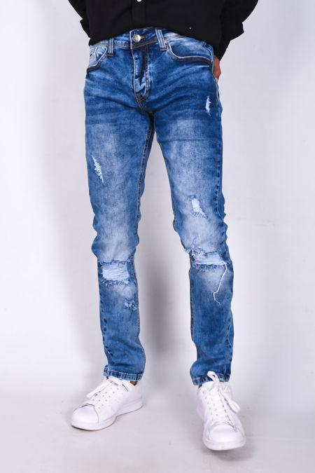 Blue Denim Distressed Knee Detail Skinny Jeans