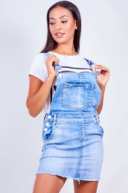 Blue Denim Pocket Front Skirt Dungarees