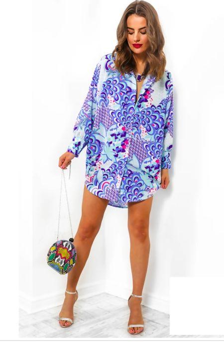 Blue Bohemian Multi Print Shirt Dress
