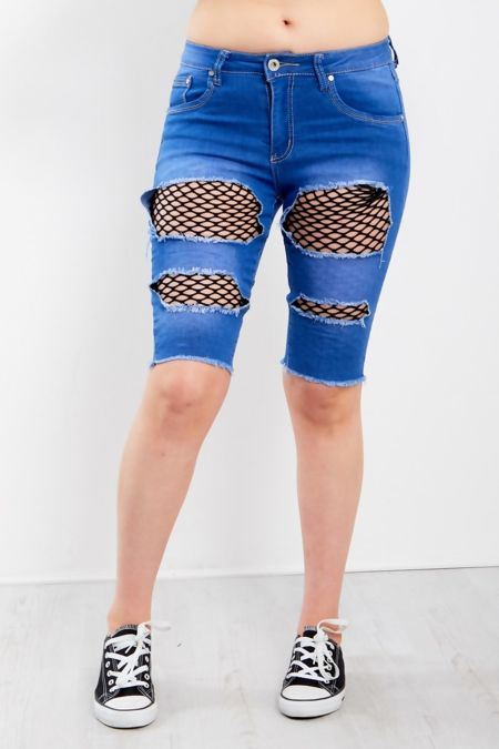 Blue Fishnet Ripped Denim Shorts