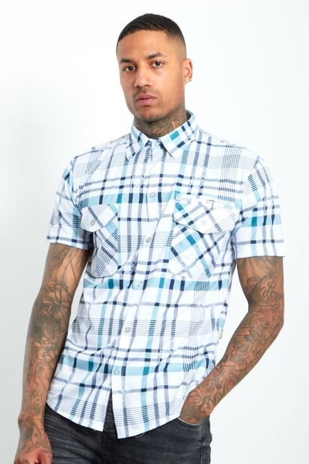 Blue Half Sleeve Check Shirt