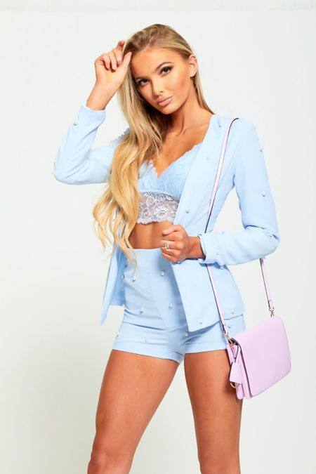 Blue Pearl Detailing Blazer And Shorts Co-ord Set