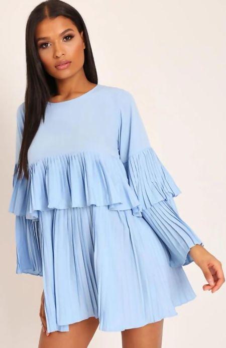 Blue Pleated Ruffle Mini Dress