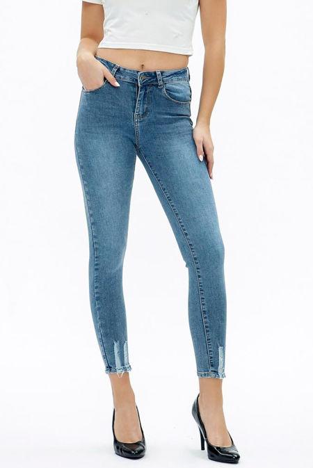 Blue Raw Hem Jeans