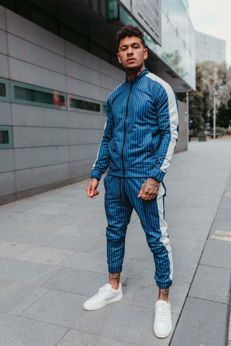 Blue With White Pinstripe Skinny Tracksuit