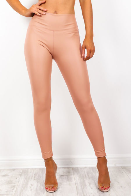 Blush Leather Look High Waist Leggings