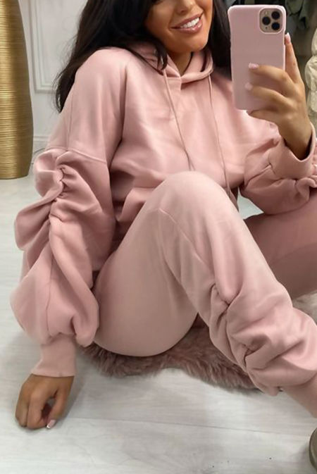 Blush Oversized Ruched Sleeve Hoodie