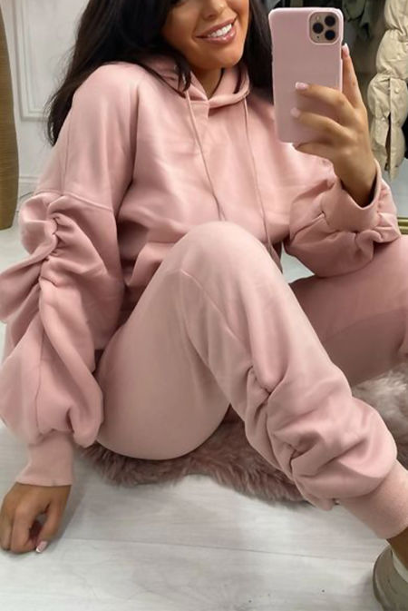 Blush Ruched Hoodie And Jogger Set