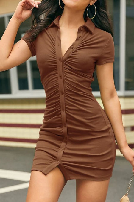 Brown Button Front Ruched Bodycon Dress