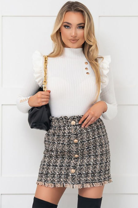Brown Button Front Tweed Skirt