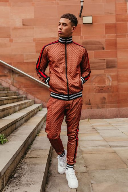 Brown Funnel Stripe Skinny Fit Tracksuit