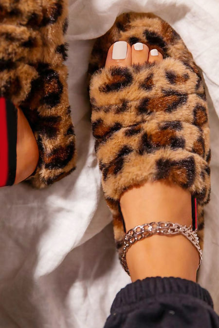 Brown Leopard Faux Fur Fluffy Stripe Slipper