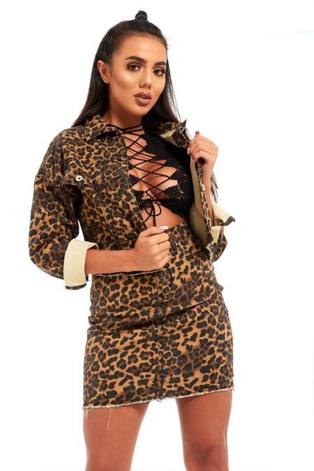 Brown Leopard Print Crop Denim Jacket