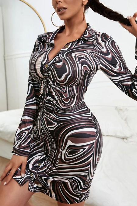 Brown Marble Print Ruched Front Button Up Dress
