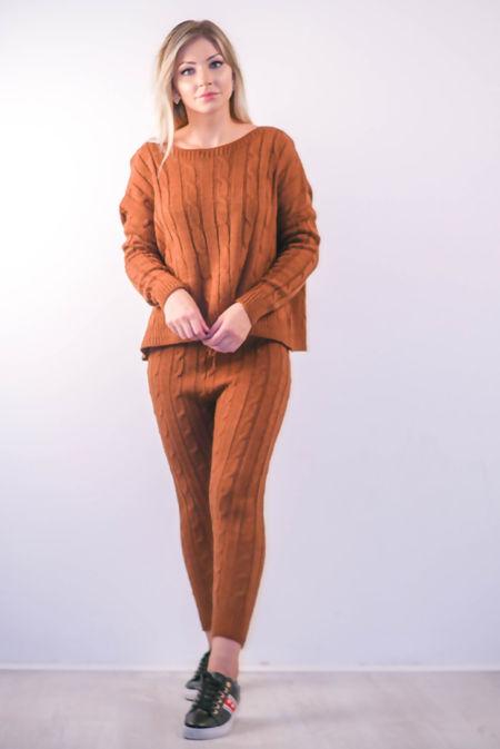 Brown Plait Knit Jumper And Pants Set