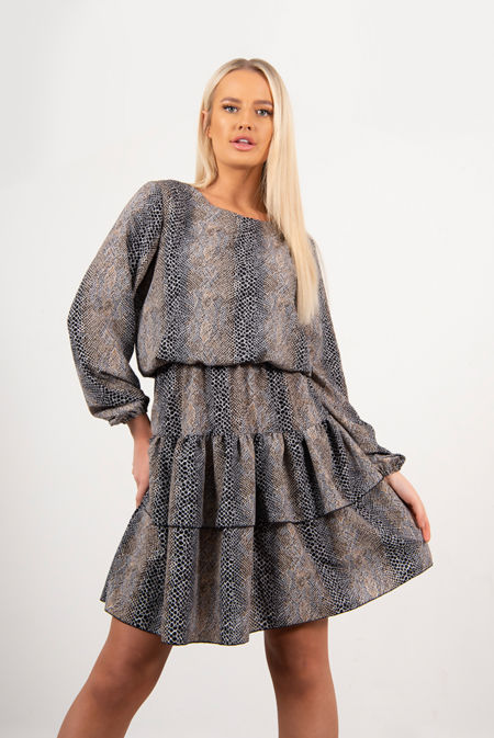 Brown Snake Print Smock Dress