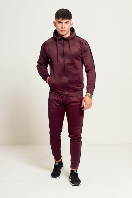 Burgundy Zip Through Hooded Tracksuit With Black Stripe Detailing