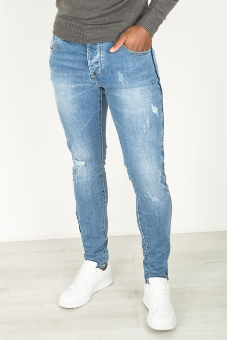 Basic Blue Distressed Ripped Denim Jeans
