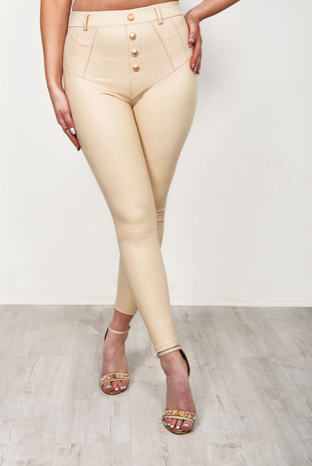 Beige Faux Leather Button Front Trousers