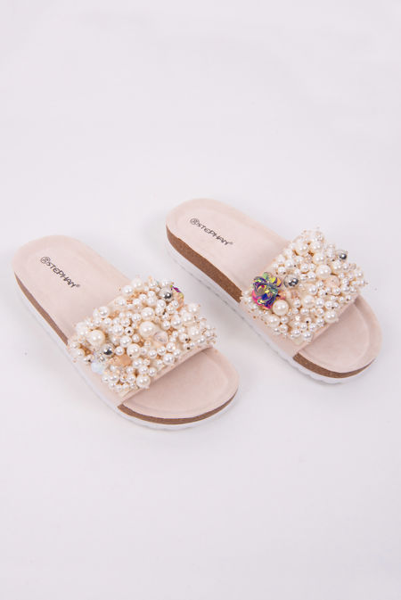 Beige Pearl & Shell Decor Platform Sandals