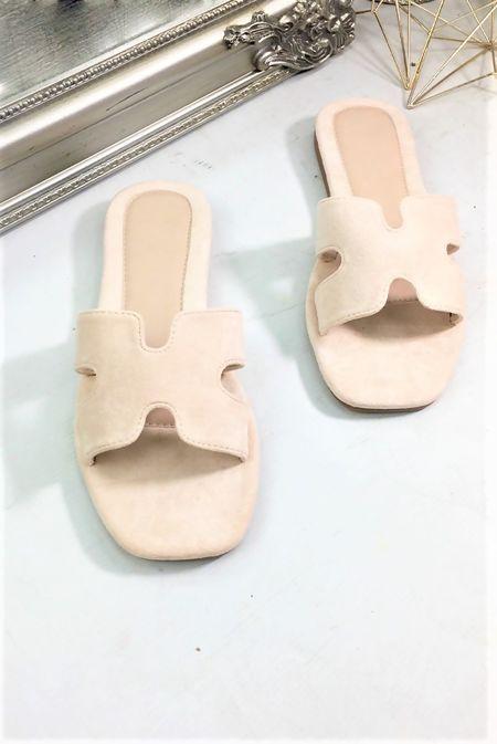 Dusty Suede Flat Mules Sandal