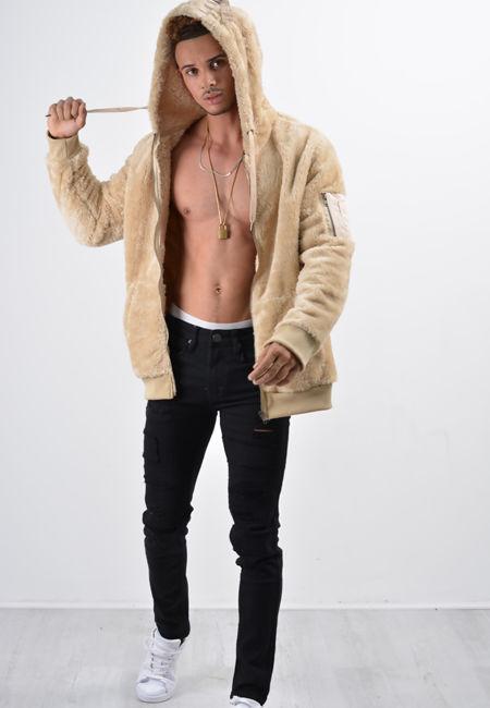 Beige Teddy Faux Fur Hood Jacket