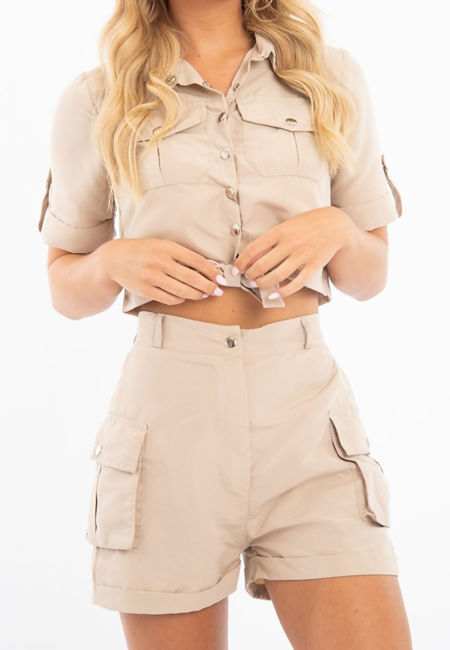 Beige Utility Pockets Crop Shirt and Short Co-ord Set