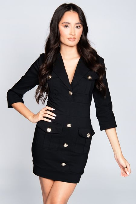 Black Button Detail Cargo Mini Dress