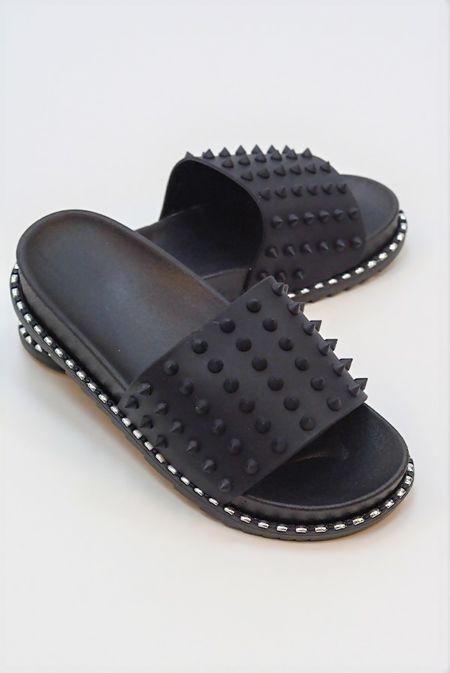 Black Chunky Spike Studded Sliders