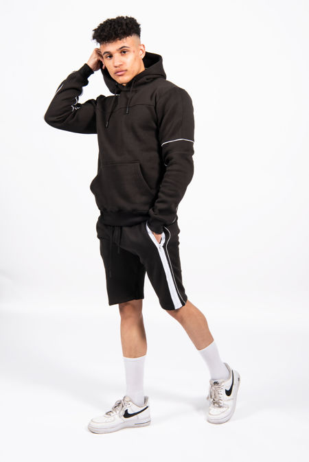 Black Contrast Zip Piped Hoodie And Short Set