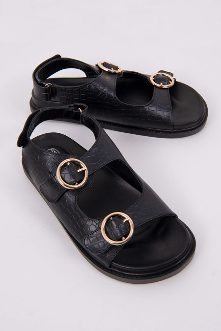 Black Croc Twin Buckle Strap Flat Sandals