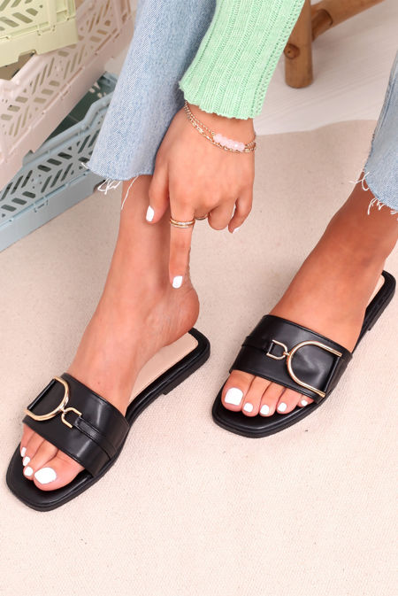 Black D Buckle Faux Leather Sliders