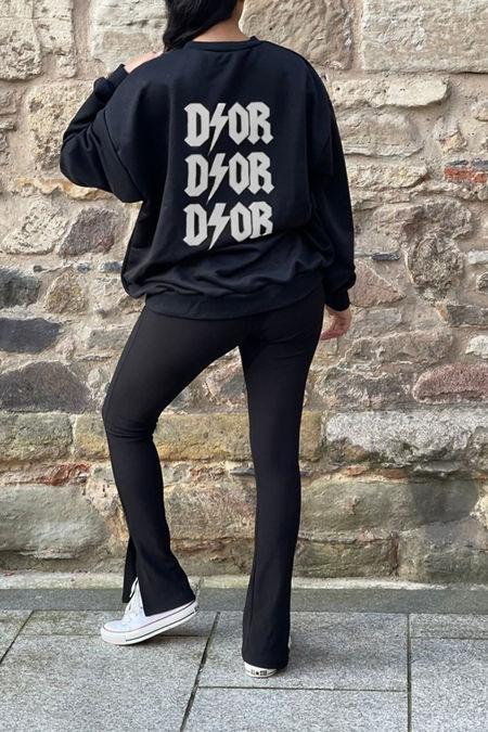 Black DIOR Back Oversized Sweatshirt