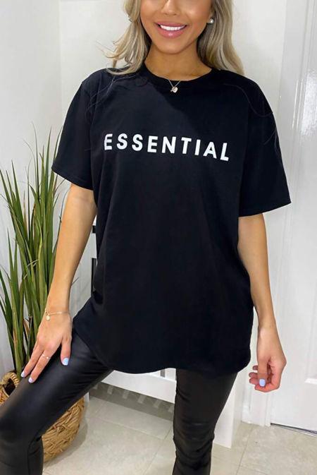 Plus Size Black ESSENTIAL Oversized Tee