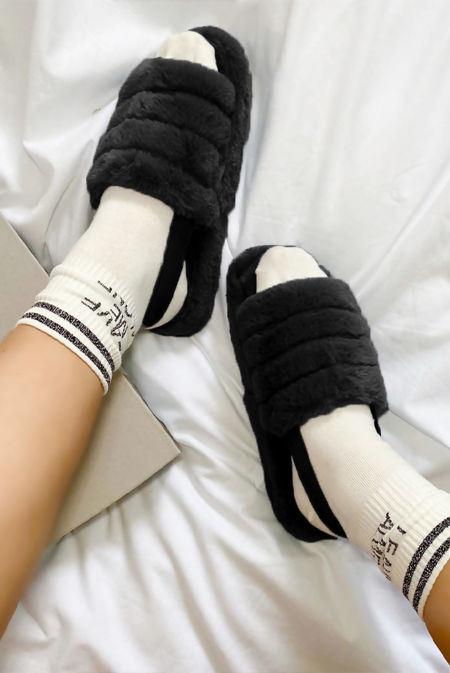 Black Faux Fur Fluffy Stripe Slipper