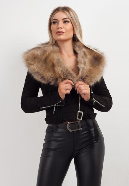 Black Faux Fur Suede Crop Biker Jacket